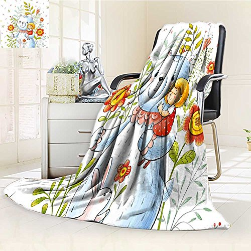YOYI-HOME Soft Warm Cozy Throw Duplex Printed Blanket Boys Girls Teddy Bear in Garden Flower with a Bunny Rabbit Image Multicolor Fuzzy Blanket s for Bed or Couch/W39.5