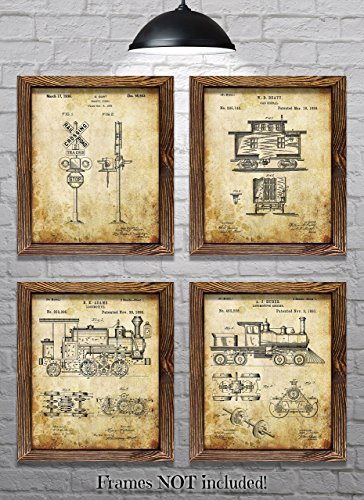 """Train Decor! - Set of Four 8""""x10"""" Vintage Railroad Patent Prints - Great Gift for Train Enthusiasts!"""