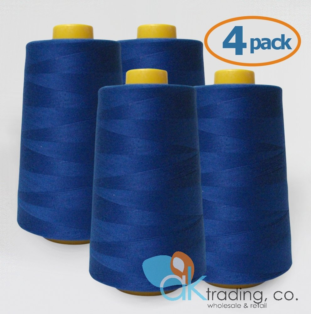 AK-Trading 4-Pack ROYAL BLUE Serger Cone Thread (6000 yards each) of Polyester thread for Sewing, Quilting, Serger AK TRADING CO.