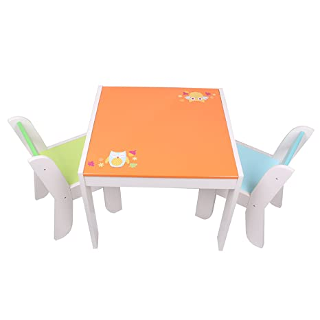 Attirant Labebe Wooden Activity Table Chair Set, Orange Owl Toddler Table For 1 5  Years