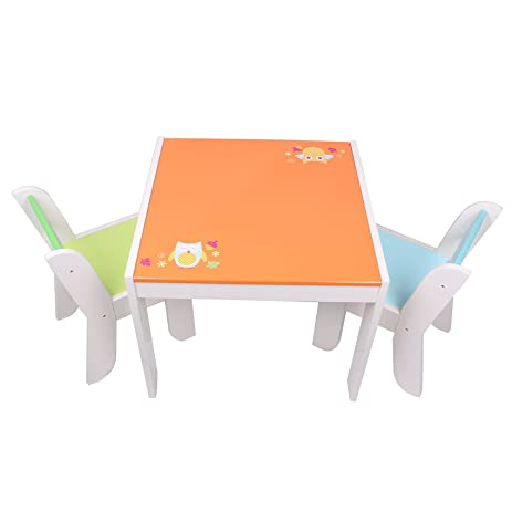 Labebe Wooden Activity Table Chair Set, Orange Owl Baby Furniture For 1 5  Years