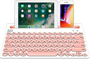 Wireless Keyboard, Attoe Dual Channel Multi-Device Universal Cute Wireless Bluetooth Keyboard Portable Slim with 20m Connection Distance for Tablet Smart Phone PC Windows Android iOS Mac (Pink)