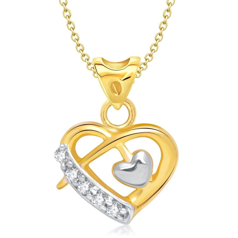 Buy Vina Jewels Valentine Beauteous Heart Shape Gold and Rhodium ...
