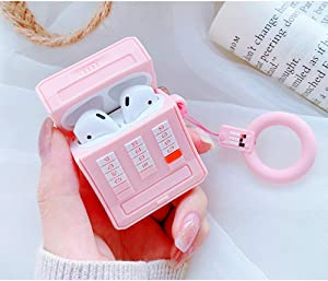 Mulafnxal Compatible with Airpods 1&2 Case,Cute 3D Funny Cartoon Character Silicone Airpod Cover,Kawaii Fun Cool Stylish Design Skin,Fashion Cases for Girls Kids Teens Boys Air pods(Pink Retro Phone)