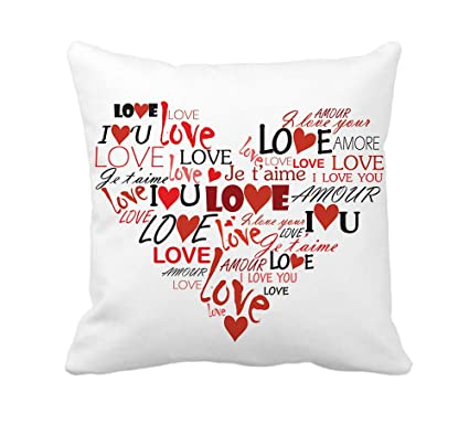 Amazon 4TH Emotion Valentines Day Throw Pillow Cover Cotton Polyester Cusion Case Love You Heart Home Decor 18 X Inches Kitchen