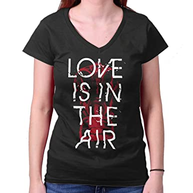 amazon com love in the air gas mask cool funny quote junior v neck