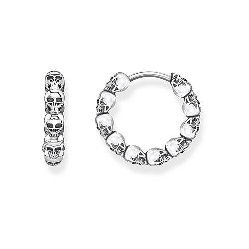 da82e6d92 THOMAS SABO Women hoop earrings skulls 925 Sterling Silver, Blackened  CR619-637-21: Amazon.co.uk: Jewellery