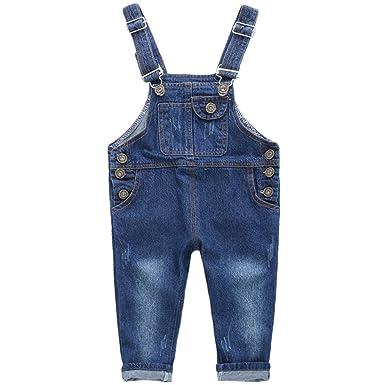 rbhickory Niños Bebé Pantalones de Peto Vaqueros Overalls Pantalón Largo Ajustable