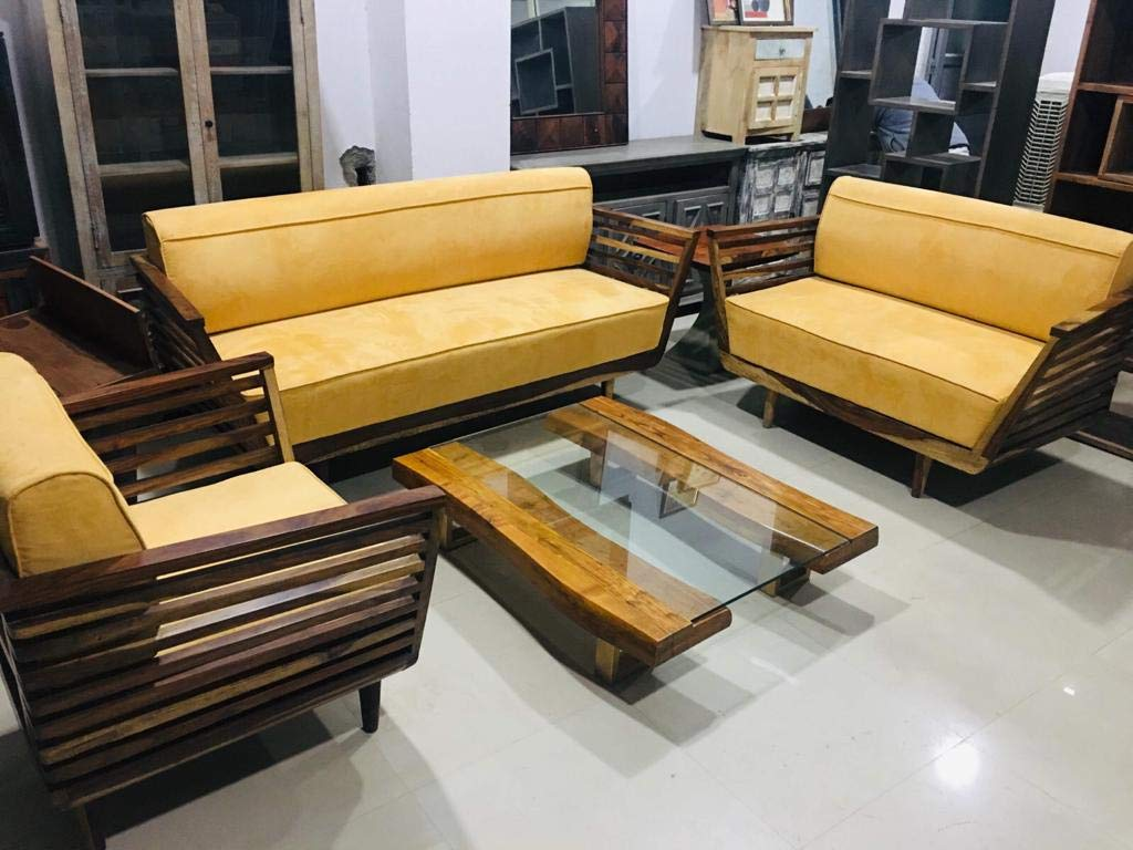 Stupendous Soham Wood Craft 6 Seater Sofa Set For Living Room Yellow Pabps2019 Chair Design Images Pabps2019Com