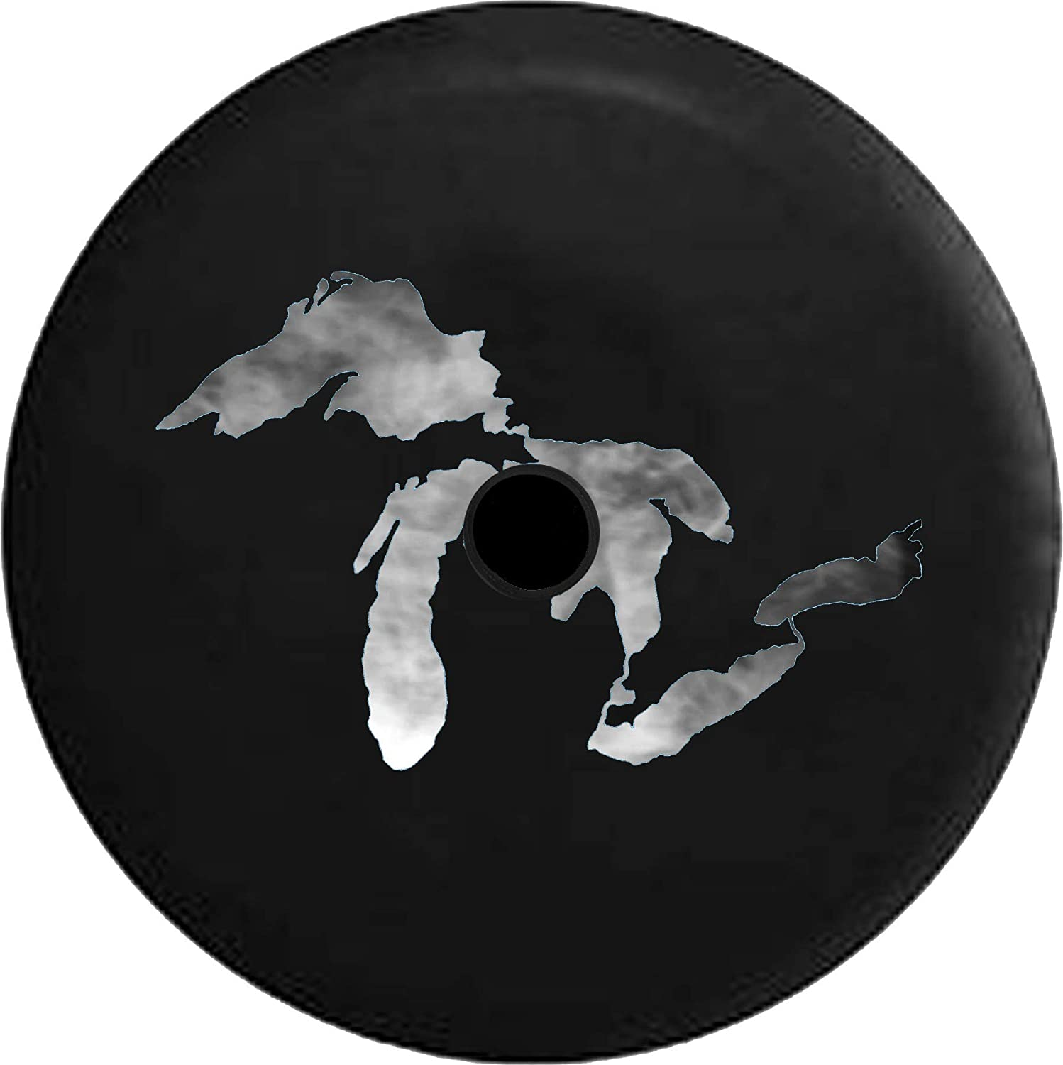 JL Spare Tire Cover Smoke on The Water Michigan Great Lakes Spare Tire Cover with Backup Camera Hole BUC Size 32 Inch Fits: Jeep JL Accessories 2018+