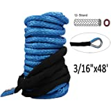 "Synthetic Winch Rope - 3/16"" x 48' Winch Cable Blue Winch Rope 6000+ LBs with Sheath for atvs Winches ATV UTV SUV Truck Boat Ramsey Synthetic Winch Rope"