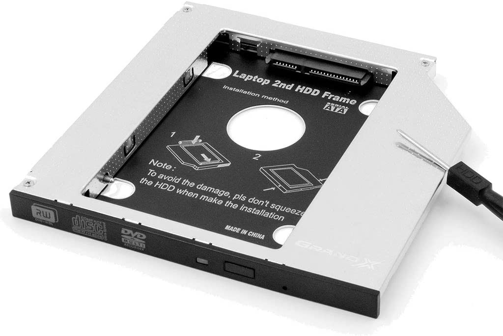 SATA 2nd SSD HDD Hard Drive Caddy Adapter Tray Enclosures for Laptop Optical Drive Bay for Acer, Asus, Dell, Fujitsu, HP, Lenovo, Samsung, Sony, Toshiba (12.7 mm)