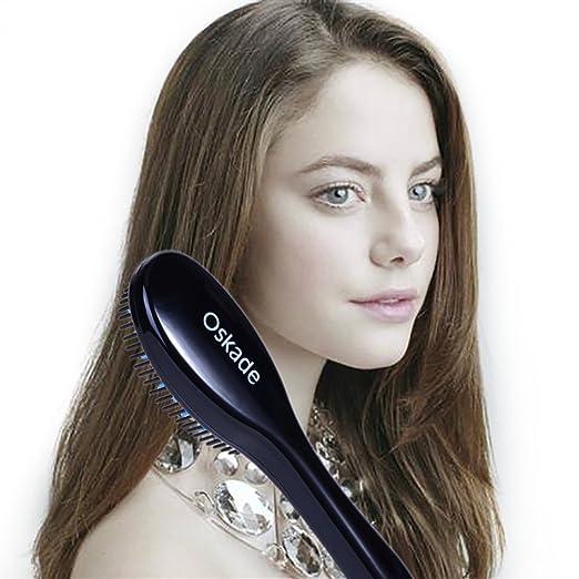 Oskade Peine alisador de pelo de la enderezadora del mini masaje del anion antiescaldadura cepillo Frizz-libre: Amazon.es: Belleza