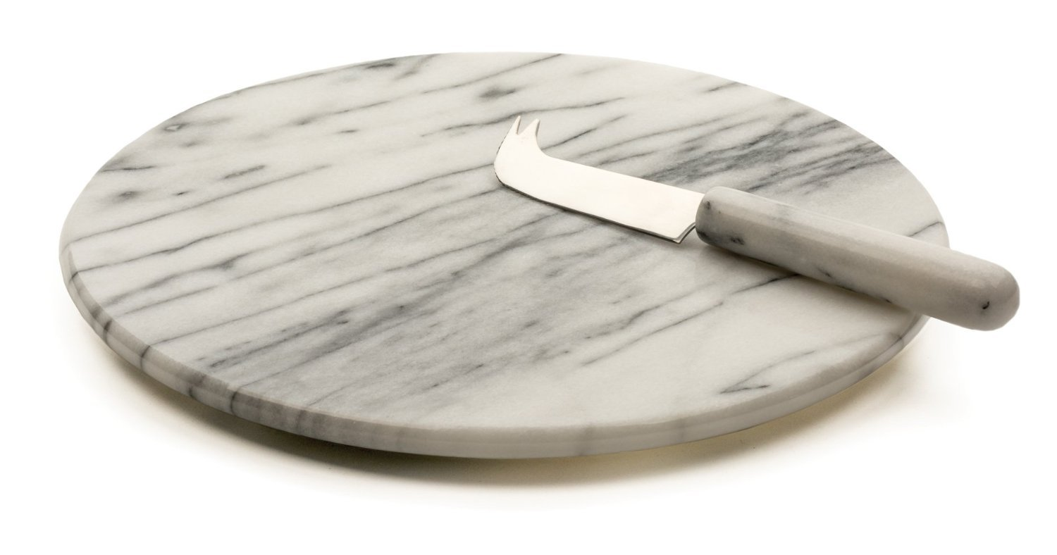 RSVP White Marble Cheese Board & Knife by RSVP International