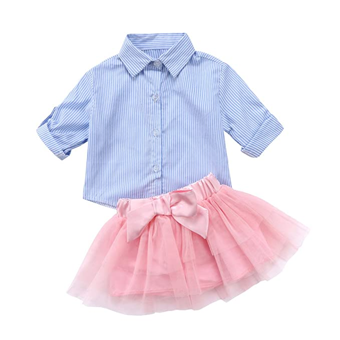 a2aa58e69f9d84 Amazon.com: MIOIM Toddler Kid Baby Girls Clothing T-Shirt Top Striped Lace  Tutu Skirt Dress Bow 2pcs Outfits Set: Clothing