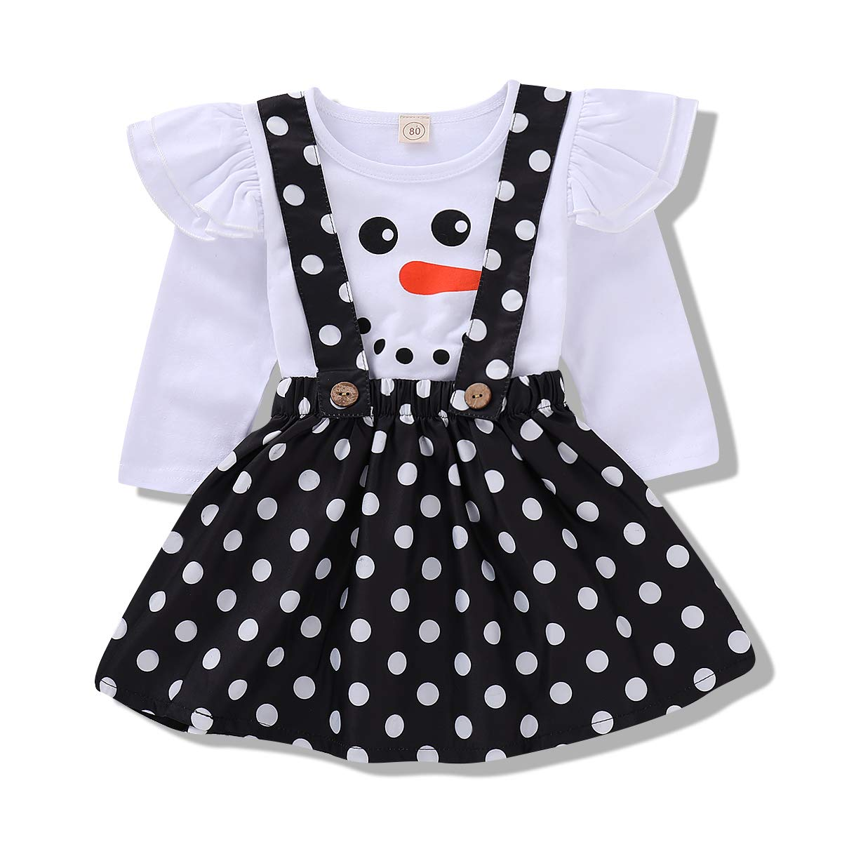 Babay Girl Xmas Party Dress Ruffle Sleeves Snowman Pattern Top+ Black Spot Suspender Skirt Clothes Set