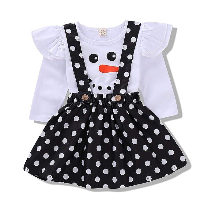 6e370ccb940 Babay Girl Xmas Party Dress Ruffle Sleeves Snowman Pattern Top+ Black Spot  Suspender Skirt Clothes Set
