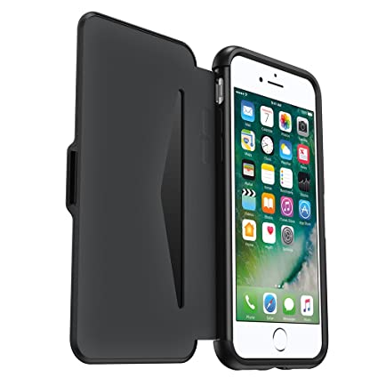 on sale f0102 6e93d OtterBox Symmetry ETUI Series for iPhone 7 - Stylish Protection Folio Case  with Card Slot - Retail Packaging - Black