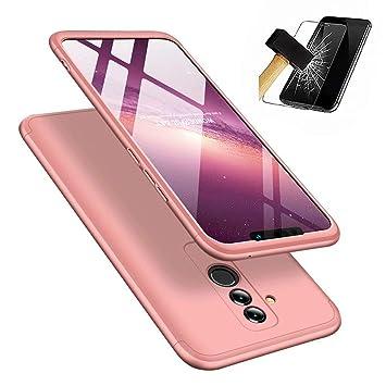 JINCHANGWU Compatible con Funda Huawei Mate 20 Lite, Carcasa Huawei Mate 20 Lite con [ Cristal Templado] Carcasa 3 en 1 Caso, Oro Rosa