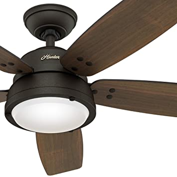 Hunter fan 52 contemporary ceiling fan in noble bronze with a led hunter fan 52quot contemporary ceiling fan in noble bronze with a led light kit and mozeypictures Choice Image