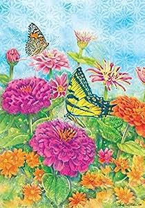 Custom Decor mariposa Zinnias, multicolor, Garden Size 12 Inch x 18 Inch Decorative Flag