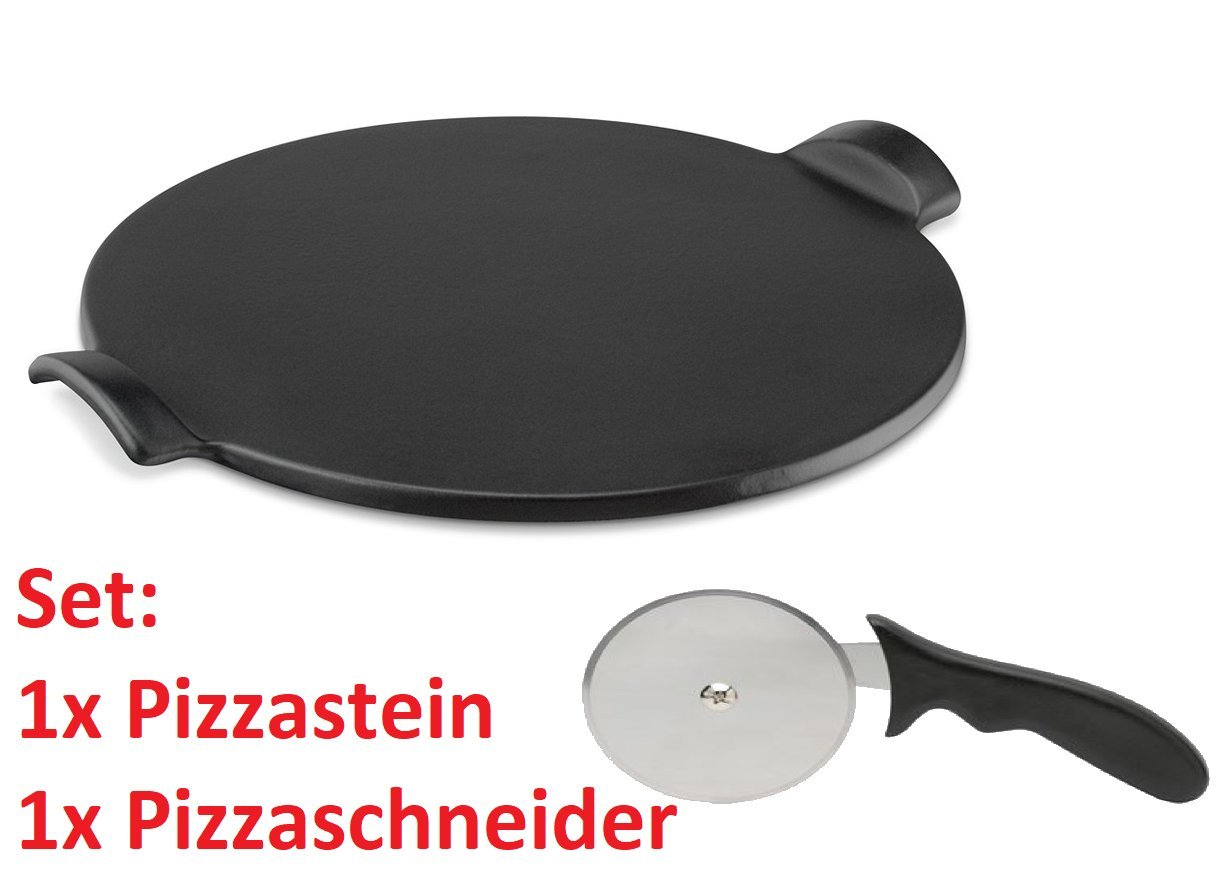 Pizza piedra set, Negro, schamott Panificadora ladrillo Set para horno y barbacoa redonda 33 x 1,1 cm, Ladrillos refractarios, con cortador de pizza.