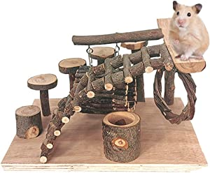 Linifar Hamster Playground Wooden, Small Animal Activity Toys Set – Climbing Ladder/Ramp Bridge/Food Bowl/Hideout Tunnel Stand Platform Chew Toy for Hamster Mouse Gerbil Rat Chinchilla (Playground A)