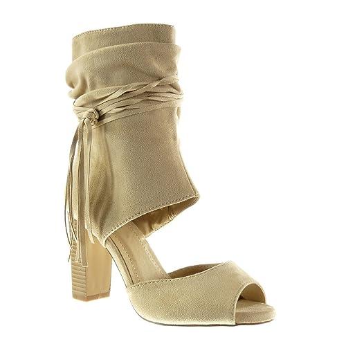 Angkorly Zapatillas Moda Botines Sandalias Peep-Toe Abierto Sexy Mujer Tanga Fleco Talón Tacón Ancho Alto 9 cm: Amazon.es: Zapatos y complementos