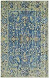 Safavieh Valencia Collection VAL123M Blue and Multi Vintage Distressed Silky Polyester Area Rug (2′ x 3′)