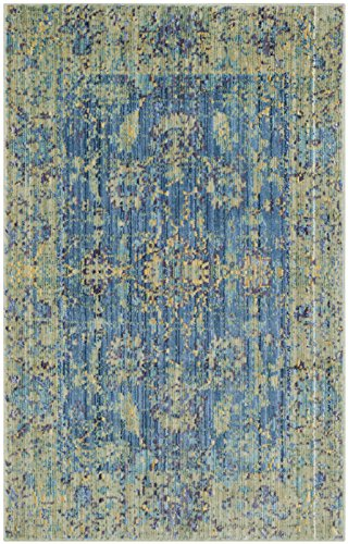 Safavieh Valencia Collection VAL123M Blue and Multi Vintage Distressed Silky Polyester Area Rug (2' x (Multi Polyester)