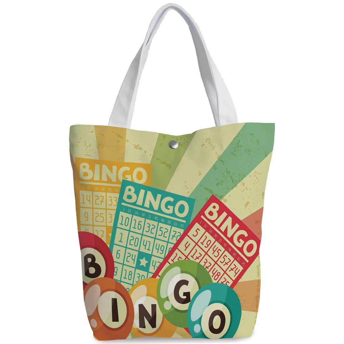 iPrint Canvas Shopping bag,shoulder handbags,Shoulder Bag,Vintage Decor,Bingo Game with Ball and Cards Pop Art Stylized Lottery Hobby Celebration Theme,Multi,Personalized Canvas Tote Bag by iPrint