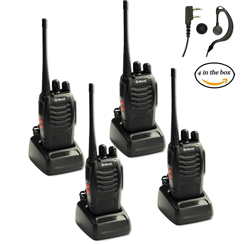 Walkie Talkies 4pcs in One Box with Rechargeable Battery Headphone Wall Charger Long Range Two Way Radio(4pcs) Lospu HY