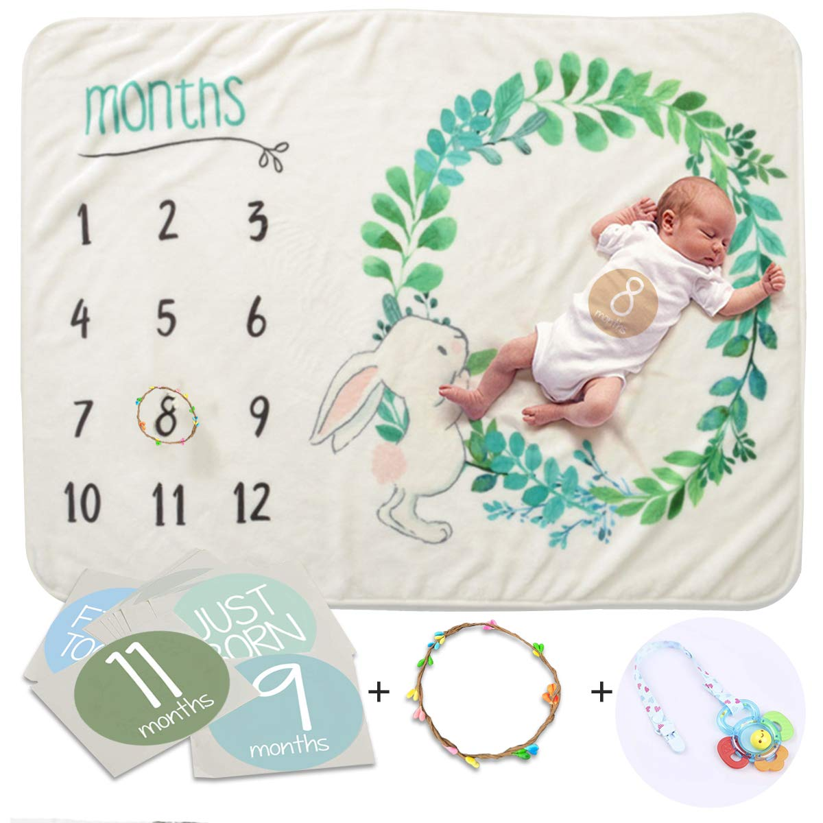 Blankie Baby Monthly Milestone Blanket For Newborn Infants Baby Photo Backdrop To Mark Age