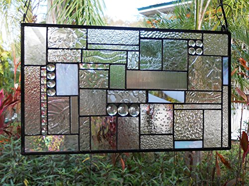 Stained Glass Panel, Stained Glass Transom Window, Crystal Clear Textures Glass Window Valance, Geometric Patchwork Stained Glass Window Treatment, Handmade Glass Quilt by ArtfulFolk