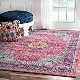 Traditional Persian Vintage Fancy Pink Area Rugs, 8 Feet by 10 Feet (8′ x 10′)