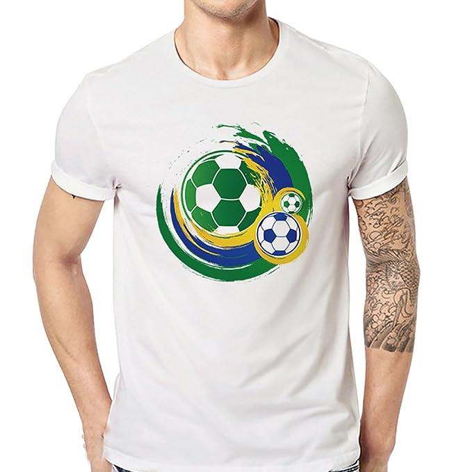 a297d9864994 BURFLY Casual Tops, Mens Sommer Fußball Drucken O Hals Kurzarm Oversize T- Shirt Mode