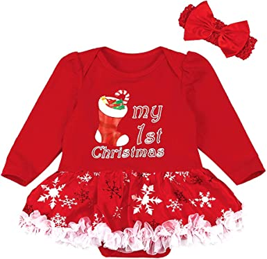 Baby Girl Clothes Full Set With Headband Christmas Newborn Outfits For Girl