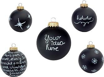 corpus delicti :: Weihnachtskugeln schwarz (2er Set) zum Bemalen und Beschriften – DIY Christbaumschmuck Black Magic