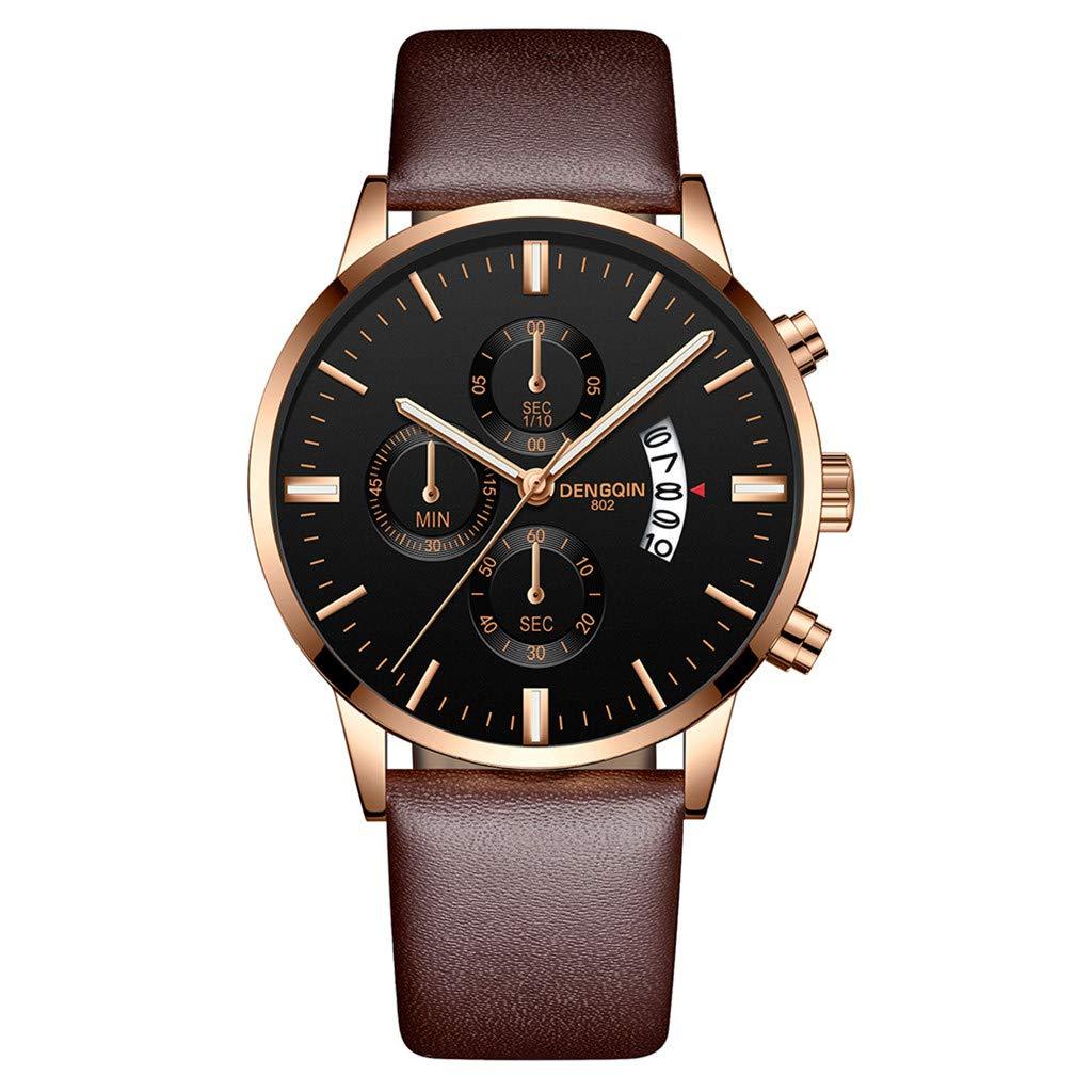 Staron  Luxury Men's Quartz Sport Military Stainless Steel Dial Wrist Watch - Top Leather Watch Band - 43mm Chronograph Date Watch - Battery Quartz Movement (D)