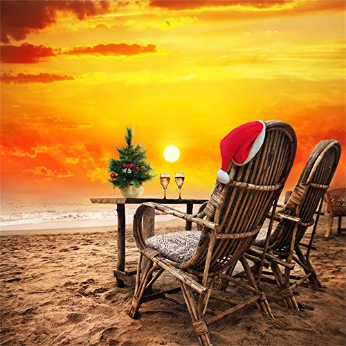 OFILA Beach Christmas Backdrop 6x6ft Santa Hat Xmas Tree Dusk Sunset Rosy Clouds Sand Chairs Lover Anniversary Romantic Date Champagne New Year Holidays Celebration Honeymoon Trip Video Studio Props (Champagne Romantic Year New)