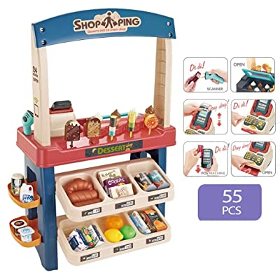 Kids Role Play Ice Cream Shop Toy Set, Children Shopping Toys Playset 55 Pieces Luxury Grocery Store With Scanner and Variety of Ice Cream, Desserts, and Other Ice Cream Product (Blue): Kitchen & Dining