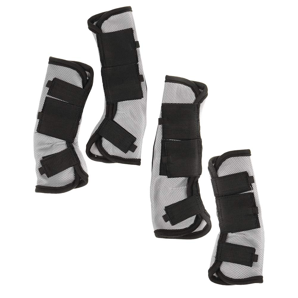 Tough-1 Mesh Set Fly Boots with Neoprene Stop Grey Large by Tough-1