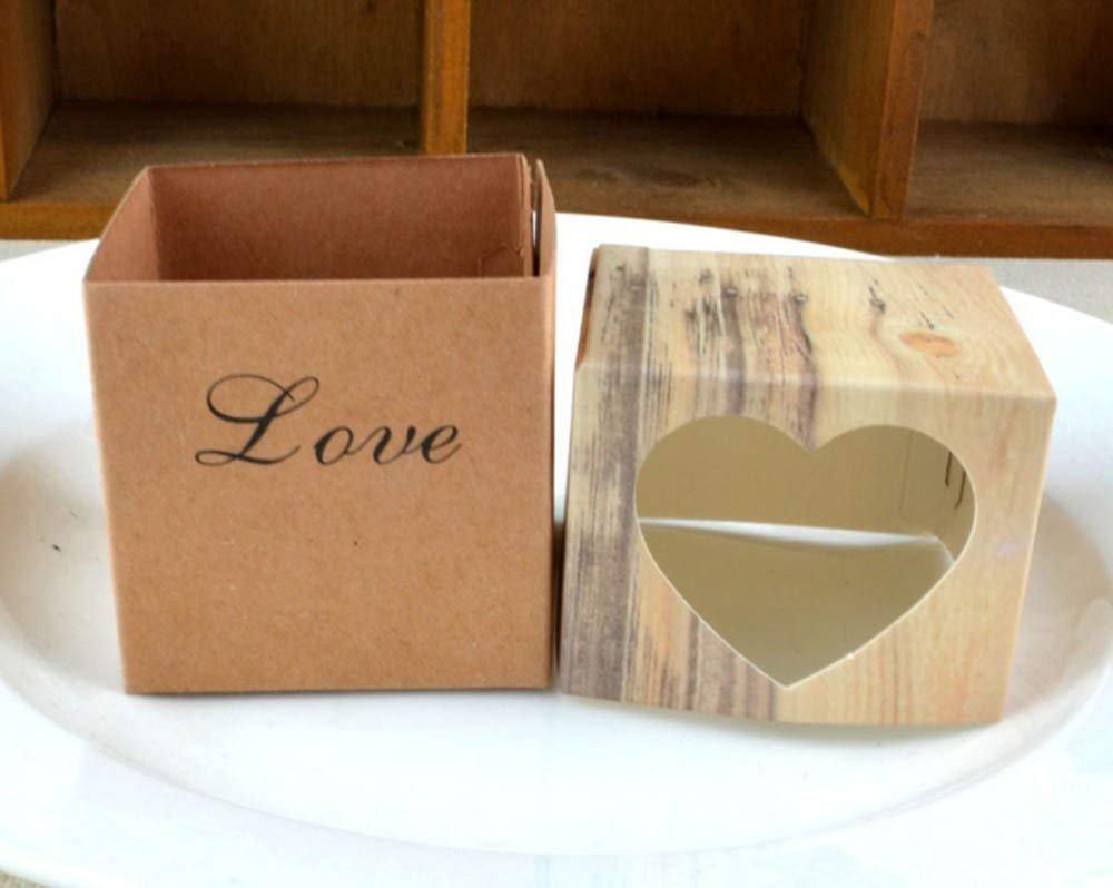 123Arts 100 pcs Candy Boxes Love Rustic Kraft Bonbonniere With Burlap Jute Shabby Chic Vintage Twine Wedding Favor Imitation Bark
