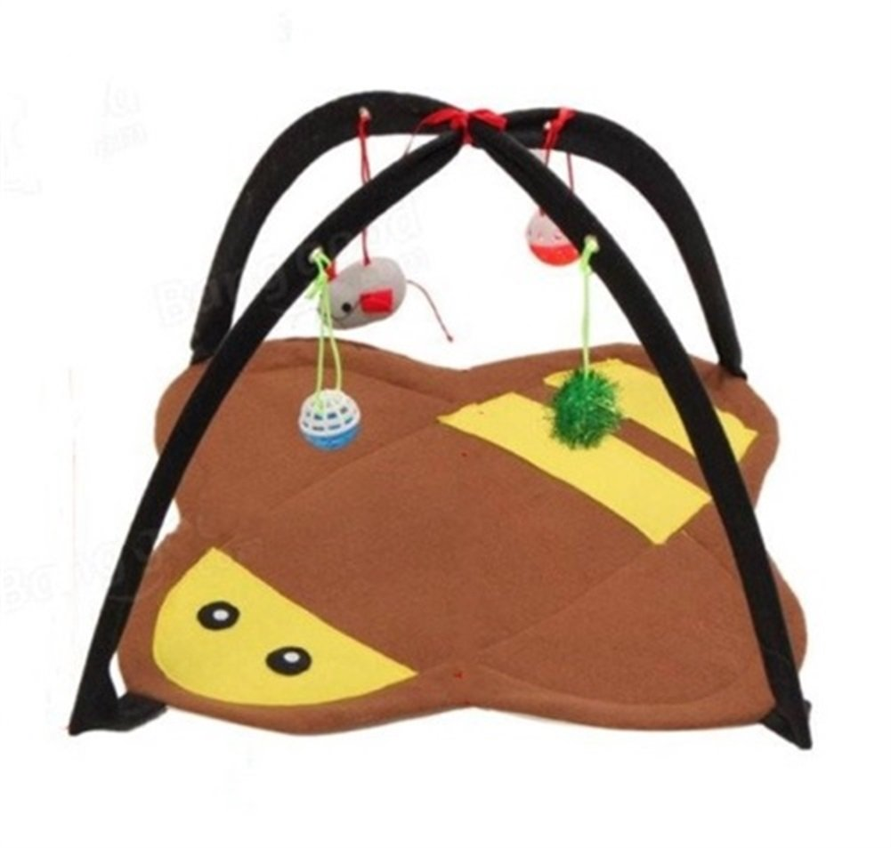 WowowMeow Cat Kitty Funny Activity Play Tent Bed with 4 Toys (Brown/Yellow)
