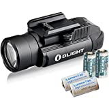 Olight PL-2 PL2 Valkyrie 1200 Lumen Rail Mounted Pistol Light Bundle with 4x CR123 Batteries, Black