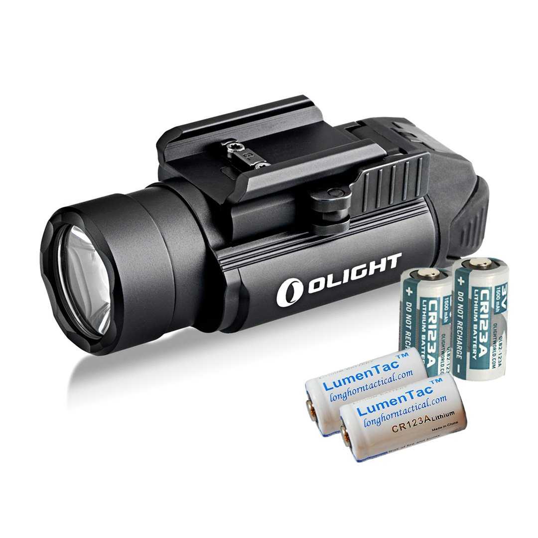 Olight PL-2 PL2 Valkyrie 1200 Lumen Rail Mounted Pistol Light Bundle with 4x CR123 Batteries, Black by Olight