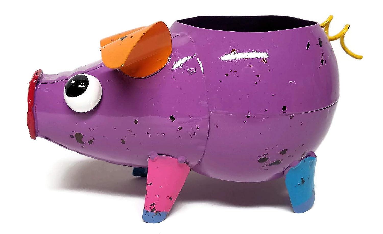 Colorful Metal Pig Planter Purple