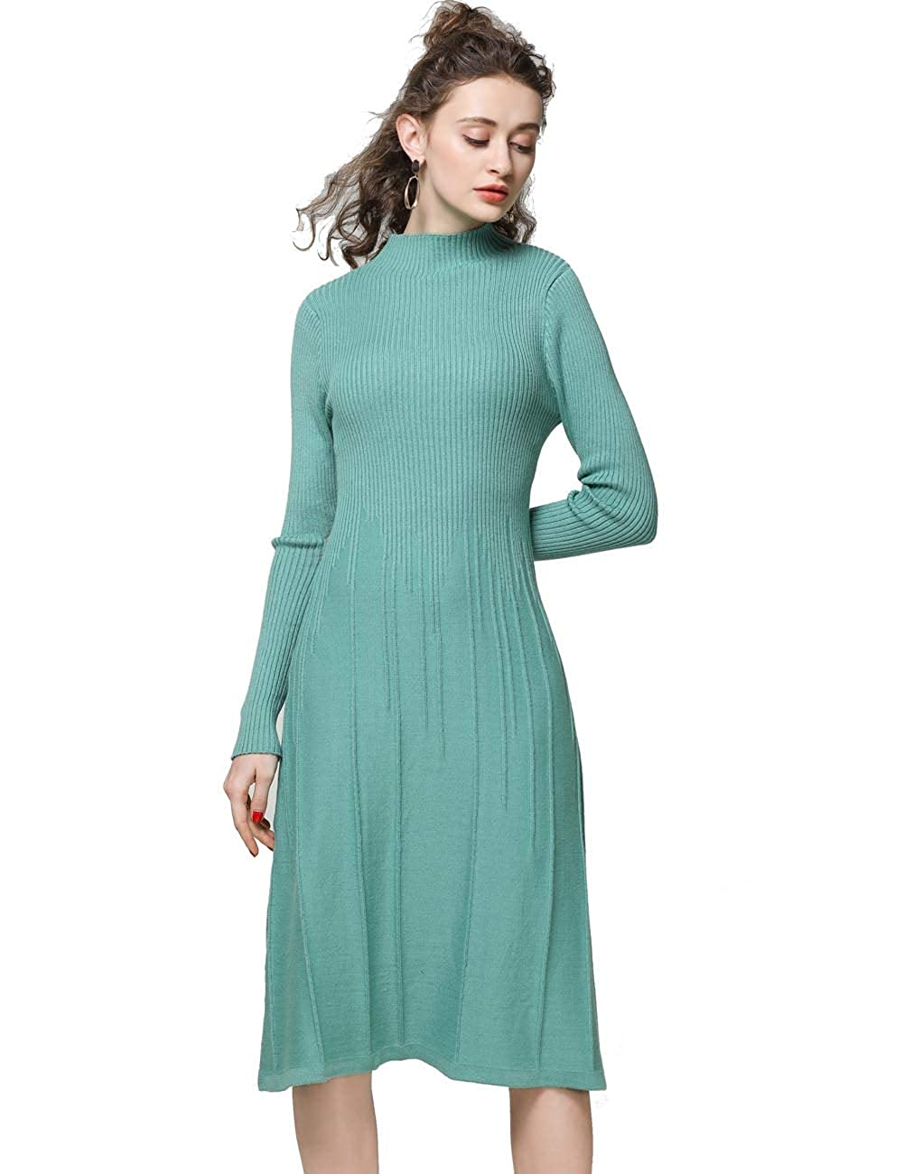 Cmint Green FINCATI Knitted Dress Women Cashmere Wool Soft Warm Cozy Elegant Ribbed Elbow KneeLength Sweater Dresses