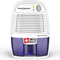 Pohl+Schmitt Compact Dehumidifier, 17oz Water Tank, Ultra Quiet - Small Portable Design for Homes, Basements, Bathrooms and Bedrooms - Removes Air Moisture to Prevent Dust Mites, Mold & Mildew