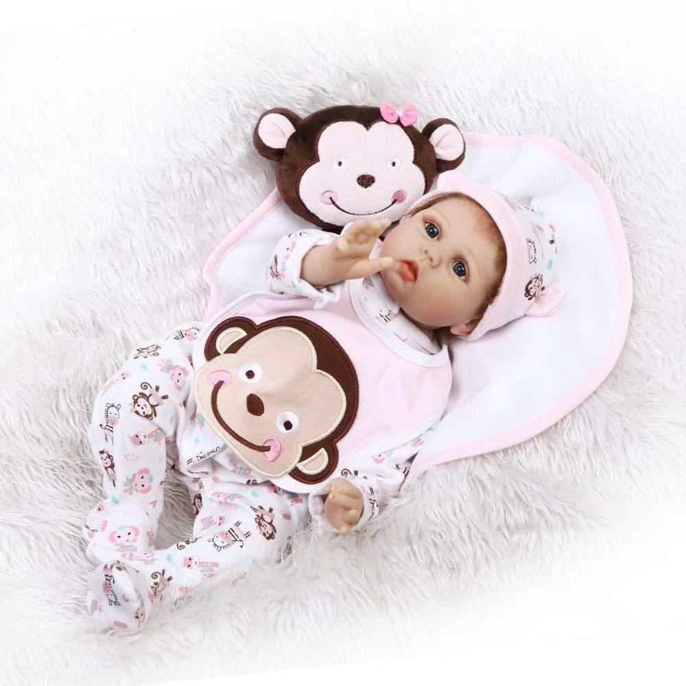 HOOMAI Das Neueste 22 inch Schön Reborn Baby 55 cm Weißh Silikon Vinyl Puppe Süsses Mädchen Lebensecht Kleider Kit Magnetisch Mund Spielzeug Kinder Geburtstag Geschenk
